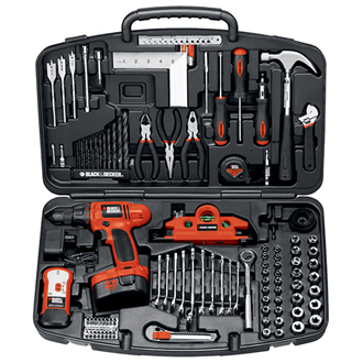 125-Pc. 14.4V Drill Kit With Hand Tools and Accessories
