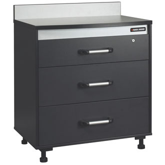 Three Drawer Base Cabinet with Work Surface, Charcoal Stipple