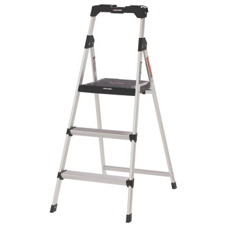 <p>3 Step Aluminum Step Stool with Tray- 225 lbs</p>
